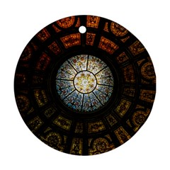 Black And Borwn Stained Glass Dome Roof Round Ornament (two Sides) by Nexatart