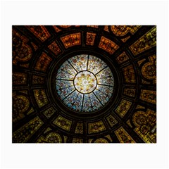 Black And Borwn Stained Glass Dome Roof Small Glasses Cloth (2 Side) by Nexatart