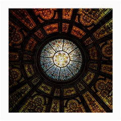Black And Borwn Stained Glass Dome Roof Medium Glasses Cloth (2 Side) by Nexatart