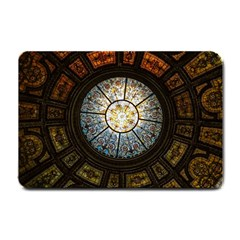 Black And Borwn Stained Glass Dome Roof Small Doormat  by Nexatart