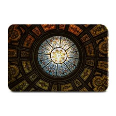 Black And Borwn Stained Glass Dome Roof Plate Mats by Nexatart
