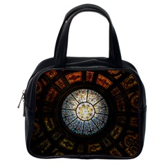Black And Borwn Stained Glass Dome Roof Classic Handbags (one Side) by Nexatart