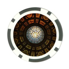 Black And Borwn Stained Glass Dome Roof Poker Chip Card Guard (10 Pack) by Nexatart