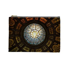 Black And Borwn Stained Glass Dome Roof Cosmetic Bag (large)  by Nexatart