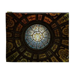 Black And Borwn Stained Glass Dome Roof Cosmetic Bag (xl) by Nexatart