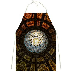 Black And Borwn Stained Glass Dome Roof Full Print Aprons by Nexatart