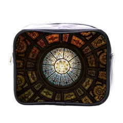 Black And Borwn Stained Glass Dome Roof Mini Toiletries Bags by Nexatart