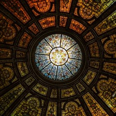 Black And Borwn Stained Glass Dome Roof Magic Photo Cubes