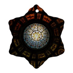 Black And Borwn Stained Glass Dome Roof Snowflake Ornament (two Sides) by Nexatart