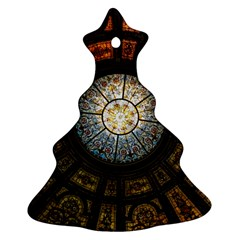Black And Borwn Stained Glass Dome Roof Christmas Tree Ornament (two Sides) by Nexatart