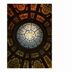 Black And Borwn Stained Glass Dome Roof Small Garden Flag (two Sides) by Nexatart