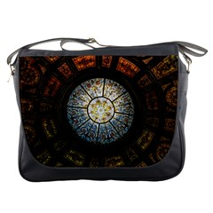 Black And Borwn Stained Glass Dome Roof Messenger Bags by Nexatart