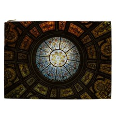 Black And Borwn Stained Glass Dome Roof Cosmetic Bag (xxl)  by Nexatart