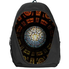 Black And Borwn Stained Glass Dome Roof Backpack Bag by Nexatart