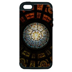 Black And Borwn Stained Glass Dome Roof Apple Iphone 5 Hardshell Case (pc+silicone) by Nexatart