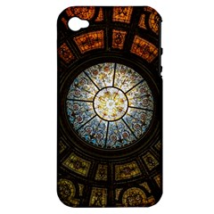 Black And Borwn Stained Glass Dome Roof Apple Iphone 4/4s Hardshell Case (pc+silicone) by Nexatart