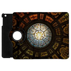 Black And Borwn Stained Glass Dome Roof Apple Ipad Mini Flip 360 Case by Nexatart