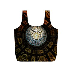 Black And Borwn Stained Glass Dome Roof Full Print Recycle Bags (s)  by Nexatart
