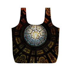 Black And Borwn Stained Glass Dome Roof Full Print Recycle Bags (m)  by Nexatart