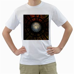 Black And Borwn Stained Glass Dome Roof Men s T Shirt (white)  by Nexatart