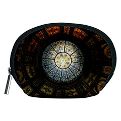Black And Borwn Stained Glass Dome Roof Accessory Pouches (medium)  by Nexatart
