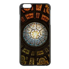 Black And Borwn Stained Glass Dome Roof Apple Iphone 6 Plus/6s Plus Black Enamel Case by Nexatart