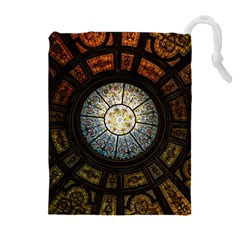 Black And Borwn Stained Glass Dome Roof Drawstring Pouches (extra Large) by Nexatart