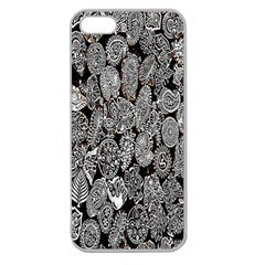 Black And White Art Pattern Historical Apple Seamless Iphone 5 Case (clear)