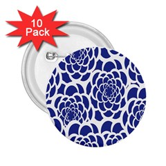 Blue And White Flower Background 2 25  Buttons (10 Pack)  by Nexatart