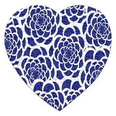 Blue And White Flower Background Jigsaw Puzzle (heart)