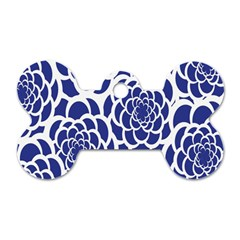 Blue And White Flower Background Dog Tag Bone (one Side)