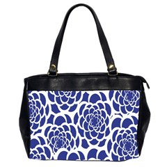 Blue And White Flower Background Office Handbags (2 Sides)  by Nexatart
