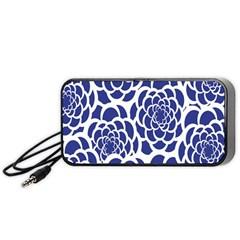 Blue And White Flower Background Portable Speaker (black)