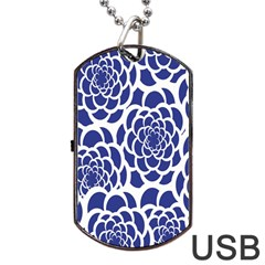 Blue And White Flower Background Dog Tag Usb Flash (one Side) by Nexatart