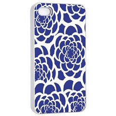 Blue And White Flower Background Apple Iphone 4/4s Seamless Case (white)
