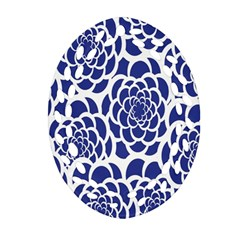 Blue And White Flower Background Ornament (oval Filigree)