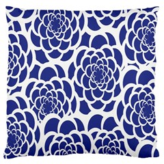 Blue And White Flower Background Large Cushion Case (one Side)