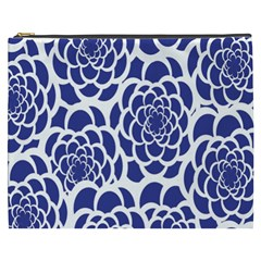 Blue And White Flower Background Cosmetic Bag (xxxl)