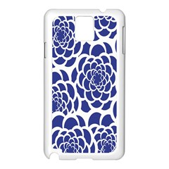 Blue And White Flower Background Samsung Galaxy Note 3 N9005 Case (white)