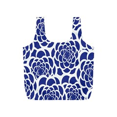 Blue And White Flower Background Full Print Recycle Bags (s)