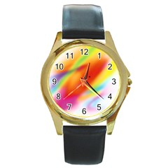 Blur Color Colorful Background Round Gold Metal Watch by Nexatart