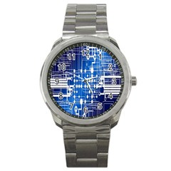 Board Circuits Trace Control Center Sport Metal Watch