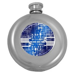 Board Circuits Trace Control Center Round Hip Flask (5 Oz) by Nexatart