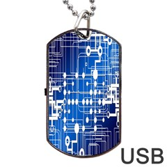 Board Circuits Trace Control Center Dog Tag Usb Flash (two Sides) by Nexatart