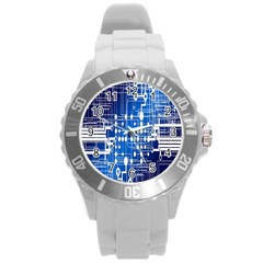 Board Circuits Trace Control Center Round Plastic Sport Watch (l) by Nexatart