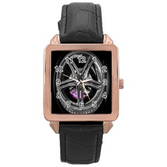 Bord Edge Wheel Tire Black Car Rose Gold Leather Watch  by Nexatart