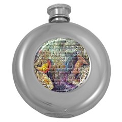 Brick Of Walls With Color Patterns Round Hip Flask (5 Oz)
