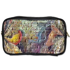 Brick Of Walls With Color Patterns Toiletries Bags by Nexatart