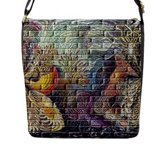 Brick Of Walls With Color Patterns Flap Messenger Bag (l)