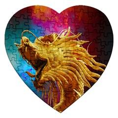 Broncefigur Golden Dragon Jigsaw Puzzle (heart)